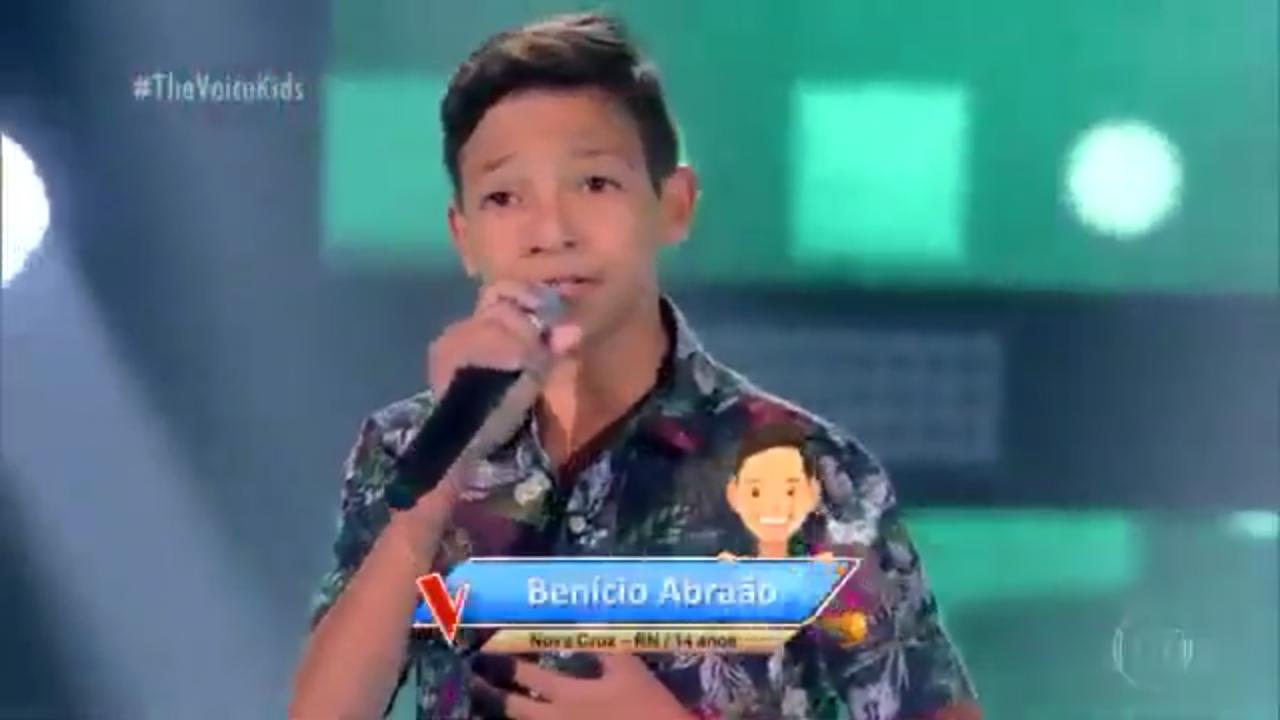 """Resultado de imagem para Benício Abrão, 14 anos, no The Voice"""""""